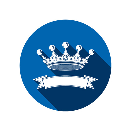 ceremonial: 3d stylish monarch crown decorated with ribbon, royalty symbol. Branding emblem, VIP services theme. Illustration