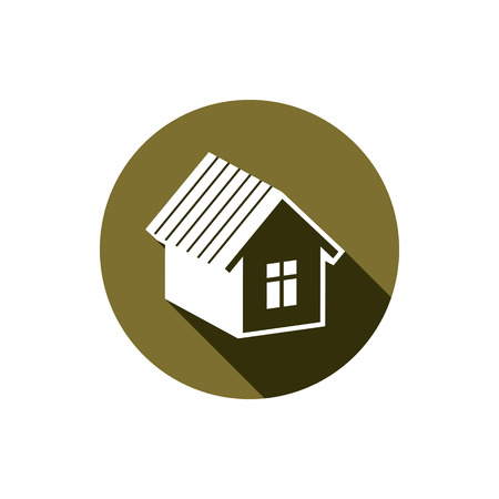 depiction: Real estate icon isolated on white, abstract house depiction. Property developer symbol, conceptual sign, best for use in advertising and as corporate brand for building company. Illustration