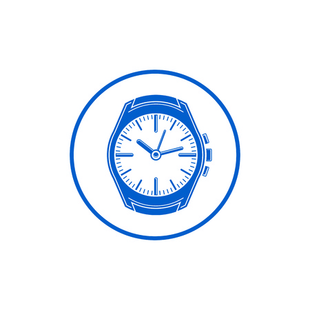 interim: Simple wristwatch graphic illustration, classic hour hand symbol. Time management idea design element. Illustration