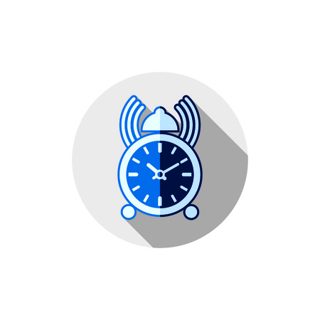 wake up: Wake up idea illustration. Classic three-dimensional alarm-clock isolated on white. Table clock with bell and podcast.