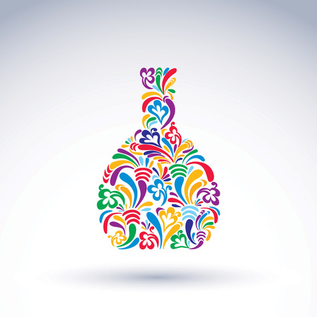 flowery: Colorful flower-patterned bottle, alcohol and relaxation concept. Stylized flowery glassware. Graphic abstract design object, holiday idea. Illustration