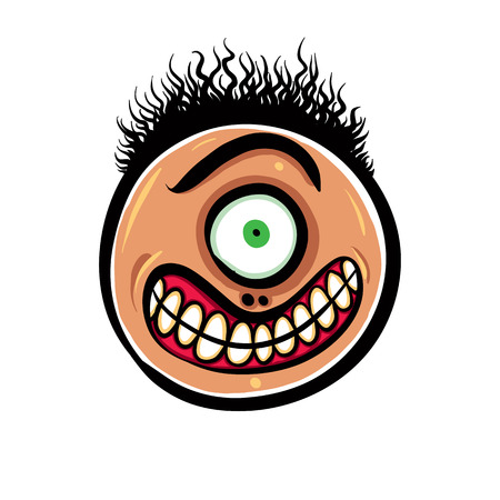 stubble: Shocked cartoon face with one eye, vector illustration.