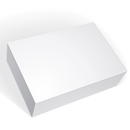 Package white box design isolated on white background, template for your package design, put your image over the box in multiply mode, vector illustration eps 8. Stock Illustratie
