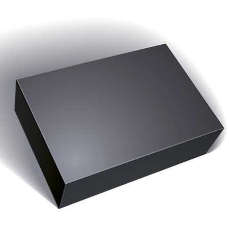 Package black box design isolated on white background, template for your package design, put your image over the box, vector illustration eps 8. Vectores
