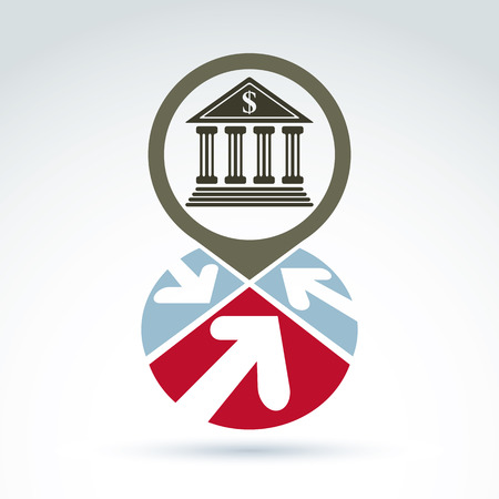 stylized banking: Bank building with arrows vector icon, conceptual symbol, business and finance banking theme. Illustration