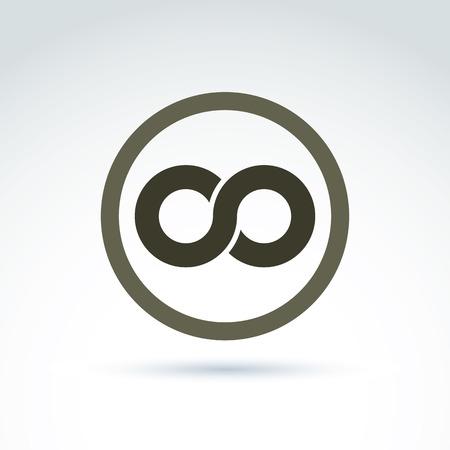 simbolo infinito: Vector icono infinito aislado en fondo blanco, ilustraci�n de un s�mbolo de la eternidad coloca en un c�rculo.