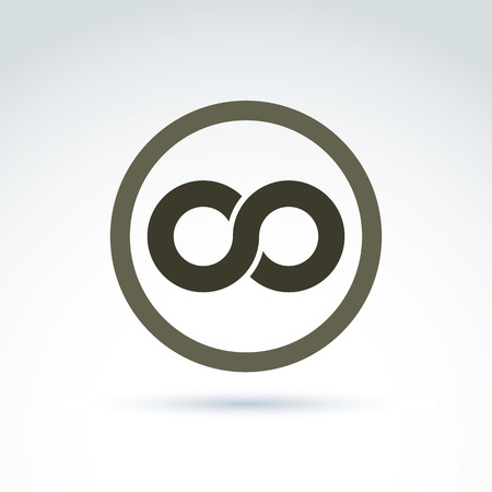 business symbols: Vector infinity icon isolated on white background, illustration of an eternity symbol placed in a circle.
