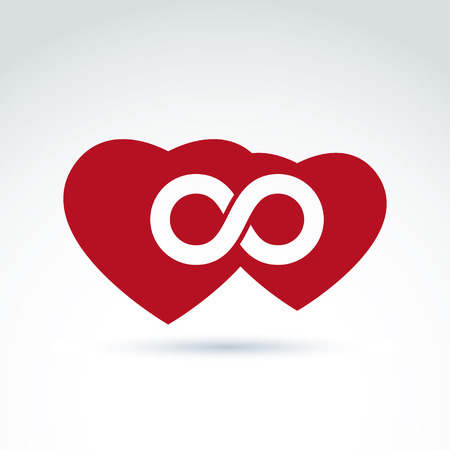 eternally: Vector infinity icon. Illustration of an eternity symbol placed on a red heart - love forever concept. Two Valentine hearts connected – marriage idea.