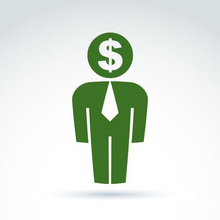 delegar: Silueta de la persona de pie delante - ilustraci�n vectorial de un financiero. Delegado, consultor, trabajador de cuello blanco, CFO. Vector s�mbolo de la banca, el icono del d�lar. Concepto de servicio financiero. Vectores