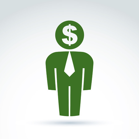 Silhouette of person standing in front - vector illustration of an financier.  Delegate, consultant, white-collar worker, CFO. Vector banking symbol, dollar icon. Financial service concept.