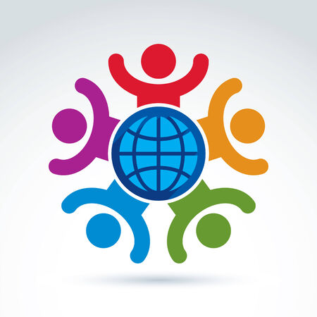 holding hands: Sociedad feliz y alegre y organizaciones que se preocupan por el mundo, la riqueza de la paz mundial y tema de iconos ecolog�a, vector s�mbolo elegante conceptual para su dise�o.