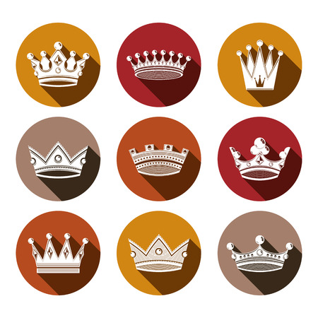 Stylized royal 3d design elements, set of king crowns. Majestic symbols isolated on white. Coronation idea.