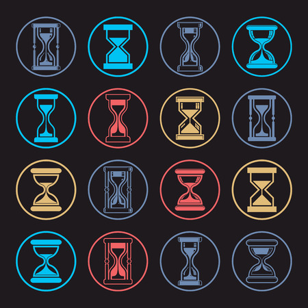 interim: Stylized sand-glass illustrations. Set of antique classic hourglasses, clocks collection. Time idea icons isolated. Illustration