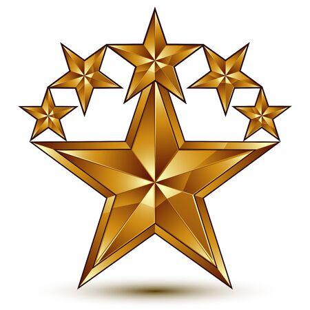 pentagonal: Geometric vector classic golden element isolated on white backdrop, 3d decorative pentagonal stars, shaped blazon.