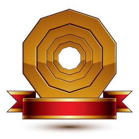 aristocrático: Dise�o plantilla de vectores anillo de oro con la cinta roja con curvas, 3d insignia aristocr�tica redondo aislado en el fondo blanco. Chapet�n sofisticado Eps8.