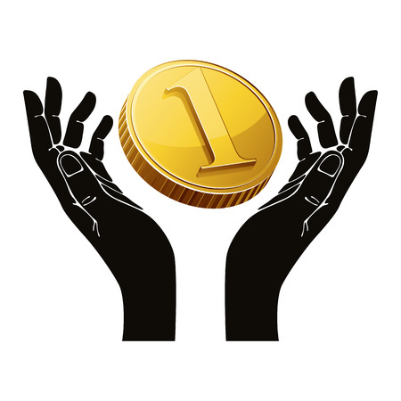 woman holding money: Hands with coin vector symbol.