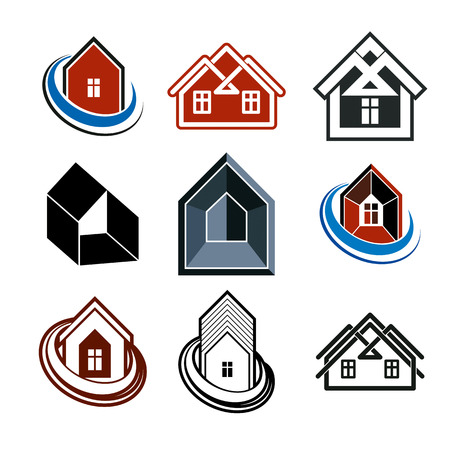 corporative: Set of stylish abstract architectural constructions - houses symbols, for use as branding in insurance, real estate business and engineering. Corporate symbol collection, design elements. Illustration