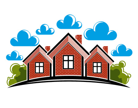 Colorful illustration of country houses created with bricks. Simple homes on nature background with white clouds and horizon line. Village theme bright picture.