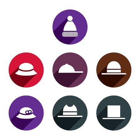 sophistication: Icono de vector Headwear establecido. Vectores
