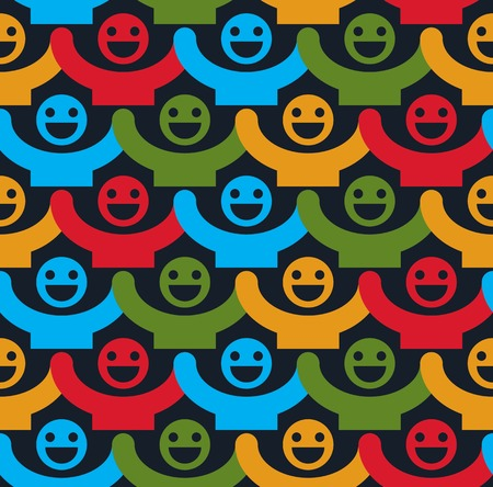 Seamless background with colorful smiley faces. People with positive emotions and holding their hands up continuous backdrop.