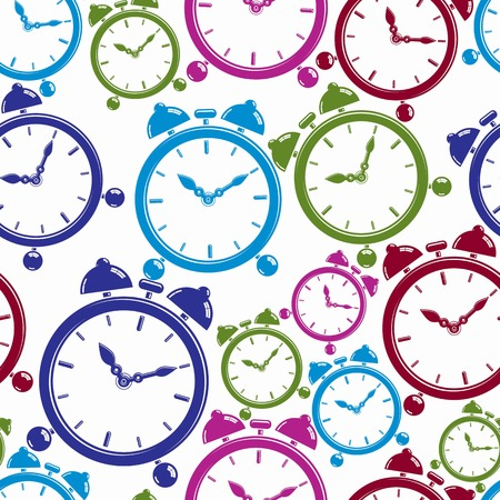 symbolic: Seamless pattern with clocks, wake up idea. Simple timers, classic stopwatches. Time management symbolic elements.
