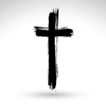 baptism: Grunge nero icona disegnata a mano croce, segno semplice croce cristiana, simbolo della croce dipinta a mano realizzato con pennello vero inchiostro isolato su sfondo bianco.