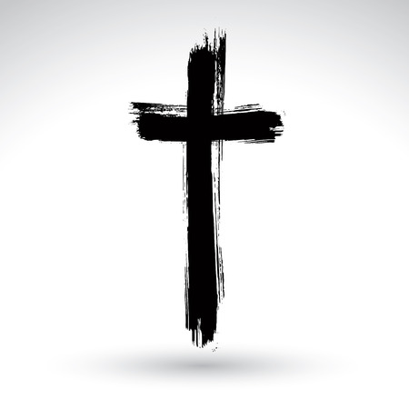 ink art: Hand drawn black grunge cross icon, simple Christian cross sign, hand-painted cross symbol created with real ink brush isolated on white background.
