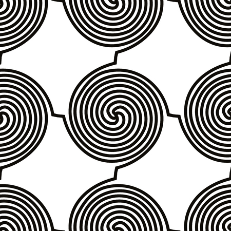 single coil: Spiral shapes seamless pattern, black and white vector background.