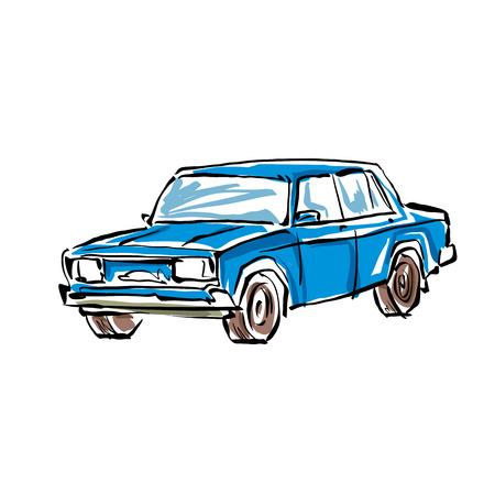 sedan: Colored hand drawn car on white background, illustration of a sedan. Illustration