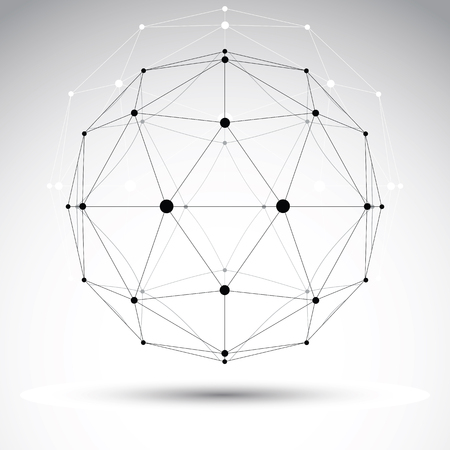 solid wire: 3D polygonal geometric wireframe object, vector abstract design element, clear eps 8.