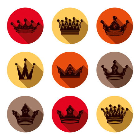 Colorful luxury crowns collection isolated. 3d imperial accessories can be used in web and graphic design. High quality classic coronets.