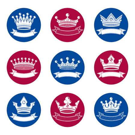 coronation: Stylized royal 3d design elements, set of king crowns. Majestic symbols with decorative festive ribbon isolated on white. Coronation idea.
