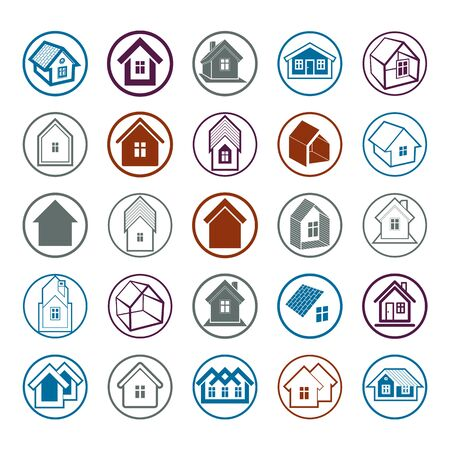 mansion: Different houses icons for use in graphic design, set of mansion conceptual symbols – abstract property images. Real estate business abstract emblems collection. Illustration