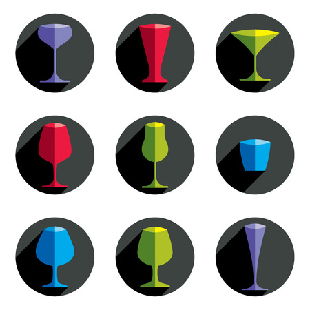 glass half full: Colorful drinking glasses collection. Set of alcohol theme simple illustrations. Celebration elements, best for use in graphic and web design.