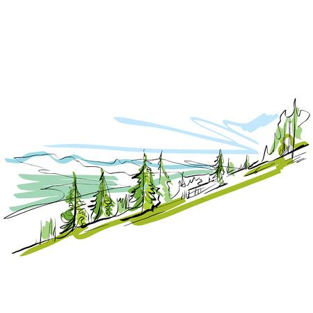 montañas caricatura: Colorido paisaje dibujado a mano, montañas ilustradas.