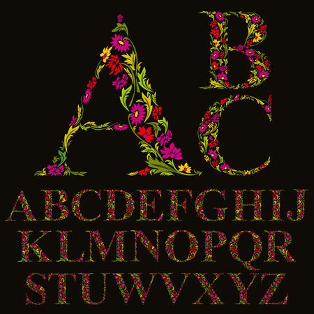 Floral font made with leaves, natural alphabet letters set, vector design.  イラスト・ベクター素材