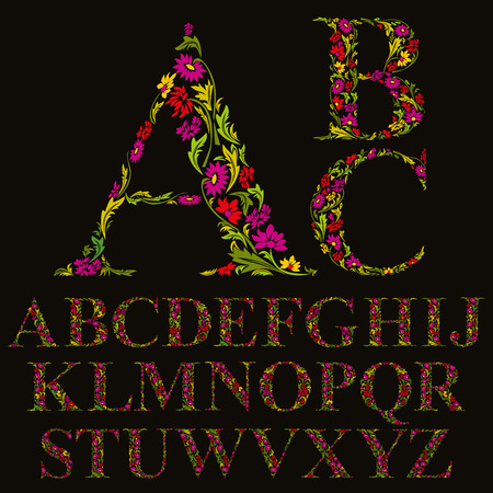 Floral font made with leaves, natural alphabet letters set, vector design. 일러스트