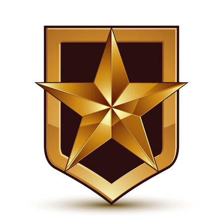 golden star: 3d heraldic vector template with pentagonal golden star, dimensional royal geometric medallion isolated on white background.