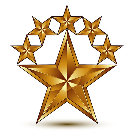 glamorous: Glamorous vector template with pentagonal golden star symbol, best for use in web and graphic design. Conceptual 3d heraldic icon, clear eps8 vector.