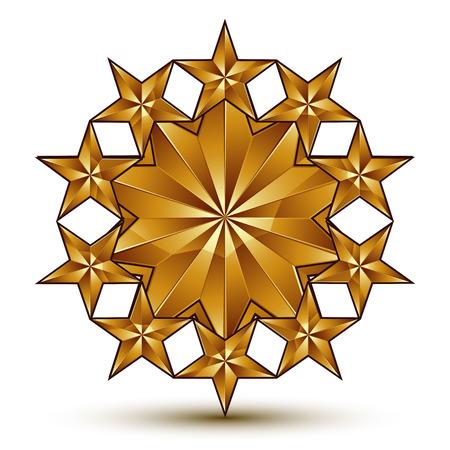 blazon: Geometric vector classic rounded golden element isolated on white backdrop, 3d decorative pentagonal stars, shaped blazon. Illustration