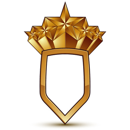 glamorous: Sophisticated vector blazon with a golden star emblem, 3d polygonal glamorous design element, clear EPS 8.