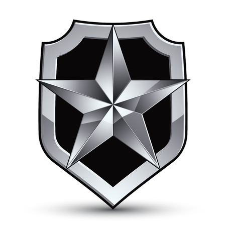 silver star: Sophisticated vector blazon with a silver star emblem, silvery 3d pentagonal design element, metallic clear EPS 8. Illustration