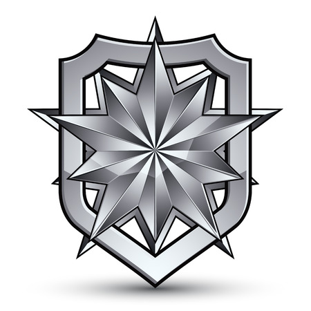 3d heraldic vector template with polygonal silver star, complicated dimensional royal geometric medallion isolated on white background. Illustration