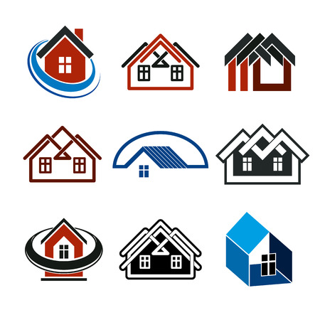 frontage: Set of stylish abstract architectural constructions - houses symbols, for use as branding in insurance, real estate business and engineering. Corporate symbol collection, design elements. Illustration