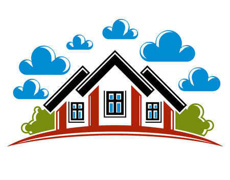 homely: Colorful illustration of country houses on nature background with white clouds and horizon line. Village theme bright picture. Simple home image. Illustration
