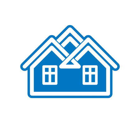 depiction: Building and engineering creative element for use in web and graphic design. Real estate agency brand, home insurance idea symbol. Abstract house.