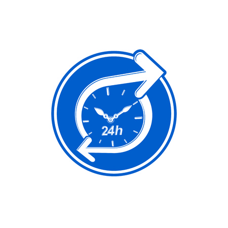 interface icon: 24 hours-a-day concept, clock face with a dial and an arrow around. Day-and-night interface icon, for use in web design. Illustration
