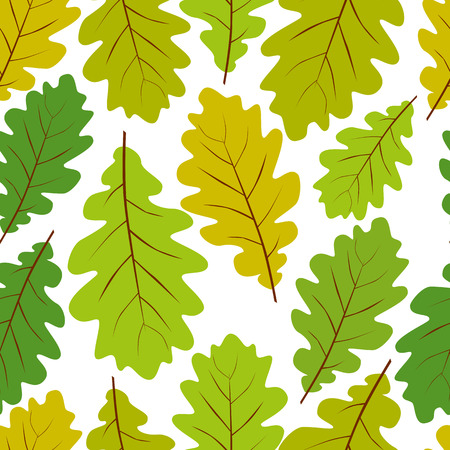 illustration line art: Beautiful leaves seamless pattern, vector natural endless background, spring background. Illustration