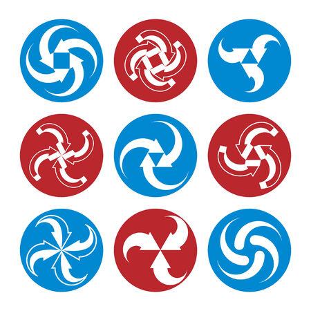 Abstract arrows vector symbols, vector graphic design template collection, vector 3d icon set. Vector