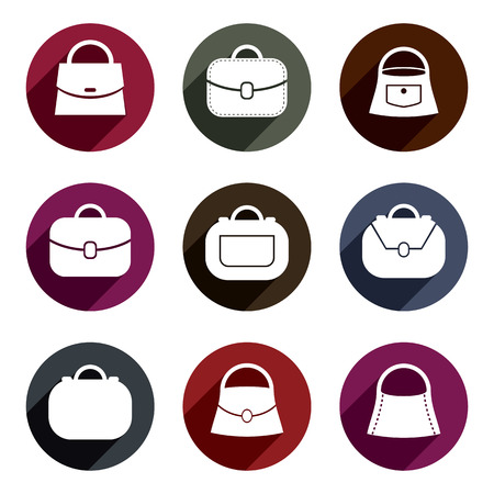 bursa: Bag vector icons set of 9 examples, fashion theme symbols collection. Illustration